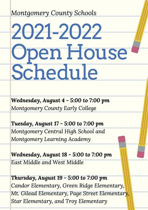 Open House Schedule