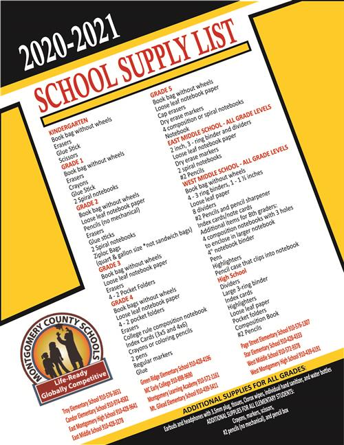 2020-21 School Supply List