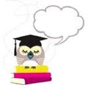 picture of an owl with a graduation cap and a word bubble