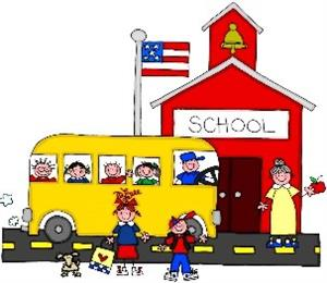 This is a picture of a school bus and children in front of a school building.