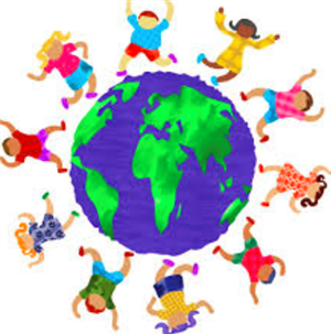 Clip art of children holding hands around the world