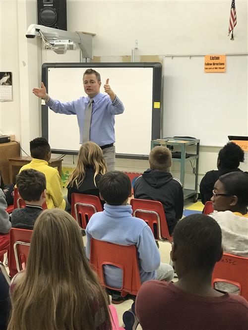 John Ahrens Speaking to the Fifth Graders