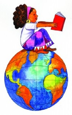 Female sitting on globe link to a school page with links to social studies links for students