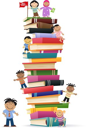 Students climbing stack of books. This is a link to as school page site with links to reading activities for students.