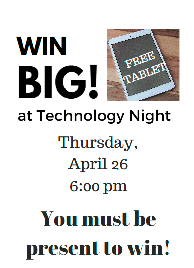 Poster about Family Technology Night