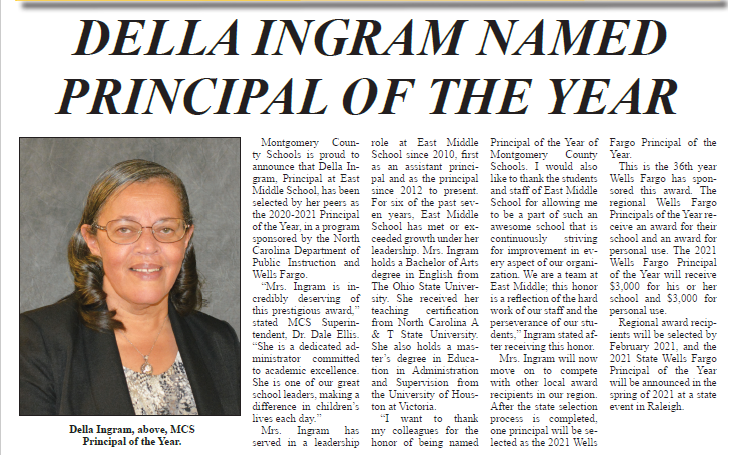 Mrs. Ingram Named Principal of the Year