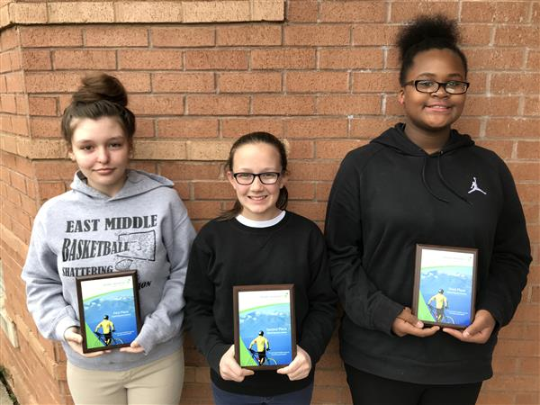 East Middle School Speech Contest Winners!  Congratulations to our first place winner Darby, second place winner Chloe and third place winner Kaziah.